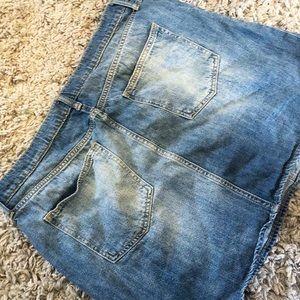 Gap Lightly Distressed Denim Skirt